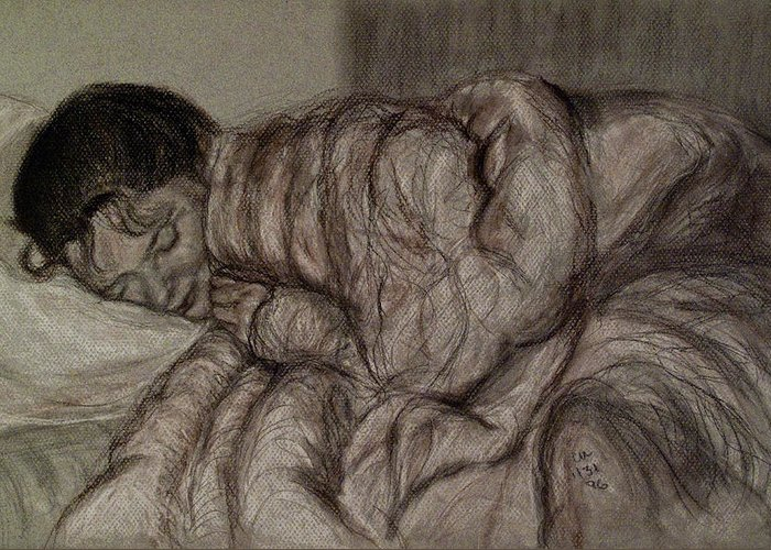 Drawing Greeting Card featuring the drawing Sweet Dreams by Caroline Urbania Naeem