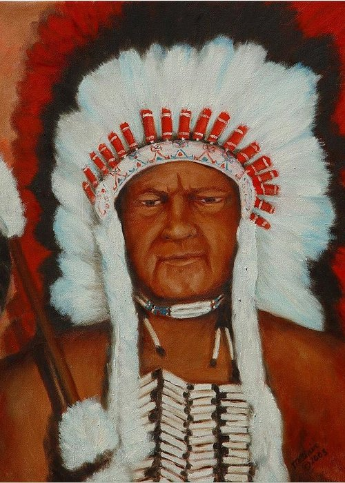 Portriat Greeting Card featuring the painting the Chief by Merle Blair