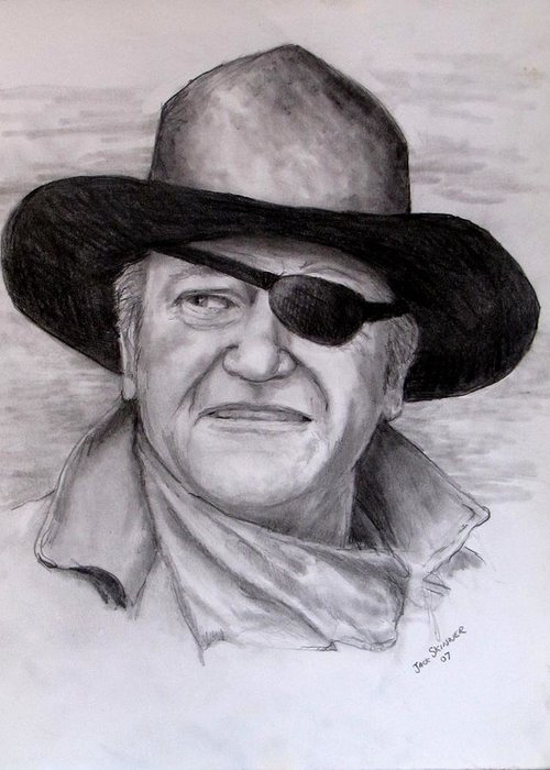 Cowboy Greeting Card featuring the drawing The Duke by Jack Skinner