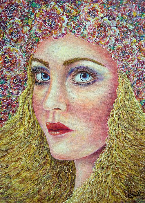 Woman Greeting Card featuring the painting  The Flower Girl by Natalie Holland