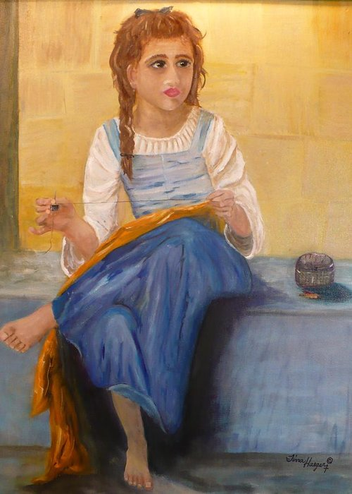 Eyes Greeting Card featuring the painting The Girl That Loves To Sew by Tina Haeger