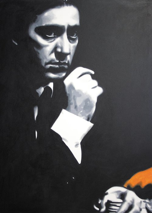 The Godfather Greeting Card featuring the painting - The Godfather - by Luis Ludzska