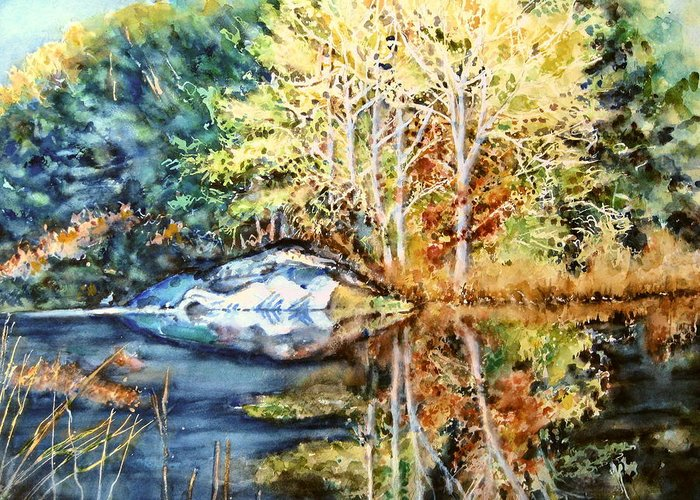 Trees Greeting Card featuring the painting The Tree Across The Pond by June Conte Pryor
