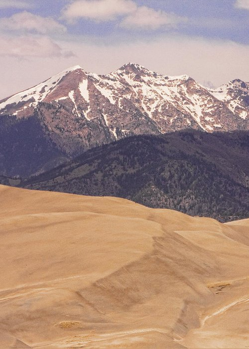 The Great Colorado Sand Dunes; Great Sand Dunes National Park And Preserve; Sand Dunes Prints; Sand Dunes Canvas Art; Colorado; Sand; Dunes; Nature Photography Prints; Landscape Photography Prints; Fine Art Photography; Insogna; The Lightning Man; Sand Dunes Prints For Sale; Commercial Photography Art Prints; Sand Dunes Greetings Card; Nature Photography; Nature; Galleries; Gallery; Landscape; Scenic; Stock Images; Fine Art Print; I  James Insogna; Greeting Card featuring the photograph The Wind Carries Sand And Rocks From Many Miles Away. The Dunes Contain Areas Of Black Sand Which A by James BO Insogna
