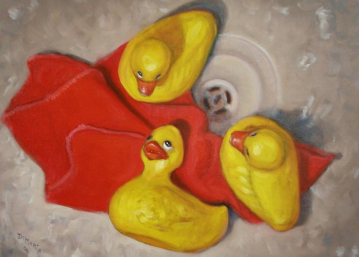 Realism Greeting Card featuring the painting Three Rubber Ducks #1 by Donelli DiMaria