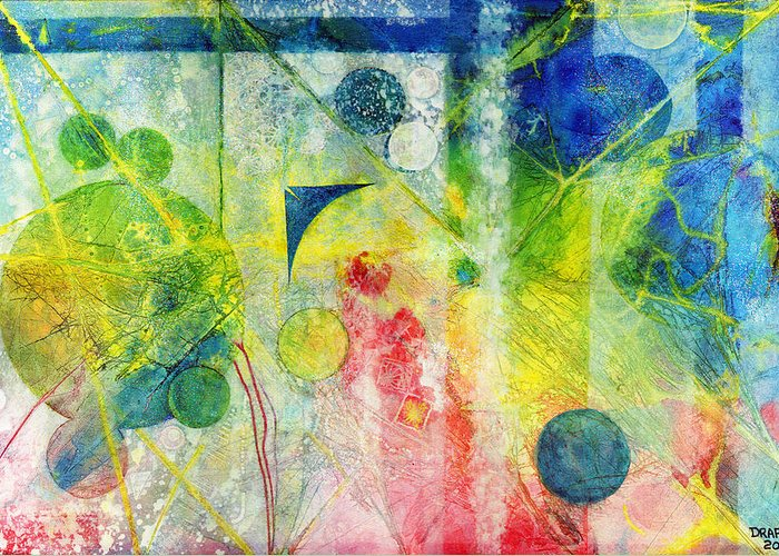 Quantum Greeting Card featuring the painting Transition Point Tria by James Douglas Draper