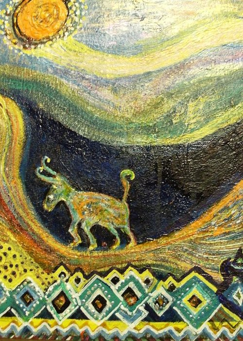 Path Greeting Card featuring the painting  Traveling Life From The Valley To The Sun by Anne-Elizabeth Whiteway