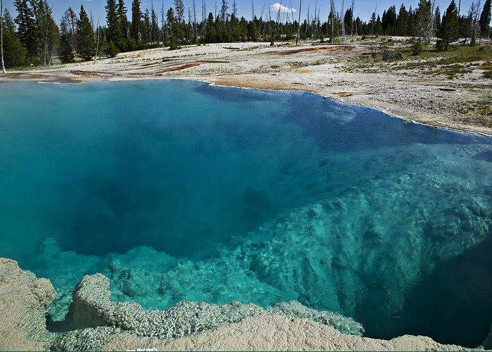 Hot Greeting Card featuring the photograph  Turquoise Hot Springs Yellowstone by Garry Gay