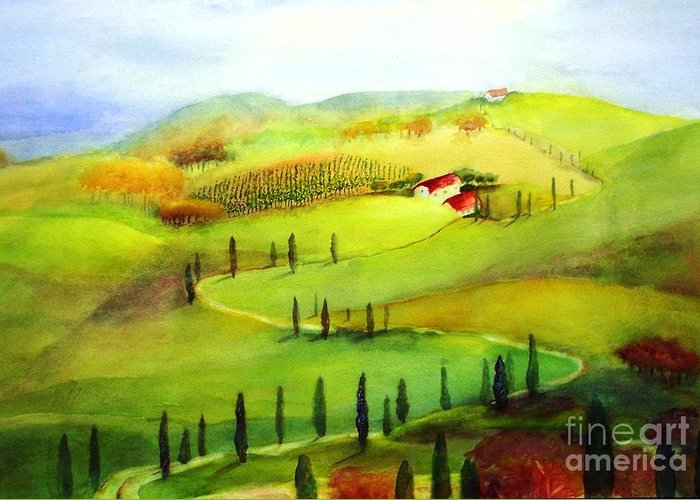 Paintings Greeting Card featuring the painting Tuscany by Maryann Schigur