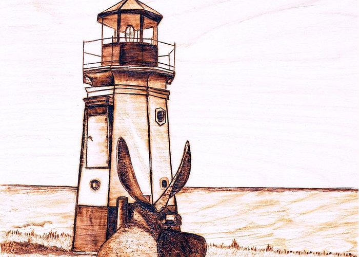 Lighthouse Greeting Card featuring the pyrography Vermilion Lighthouse by Danette Smith
