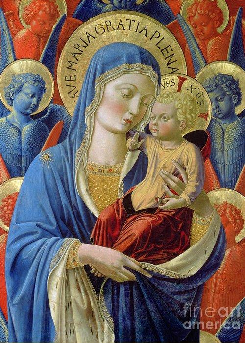 Virgin And Child With Angels Greeting Card featuring the painting Virgin And Child With Angels by Benozzo di Lese di Sandro Gozzoli