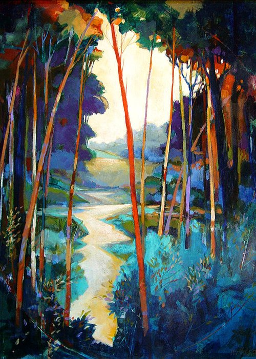Landscape Greeting Card featuring the painting Waterpath by Dale Witherow
