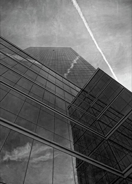 Black And White Greeting Card featuring the photograph White Plains Office Building 5 by Robert Ullmann