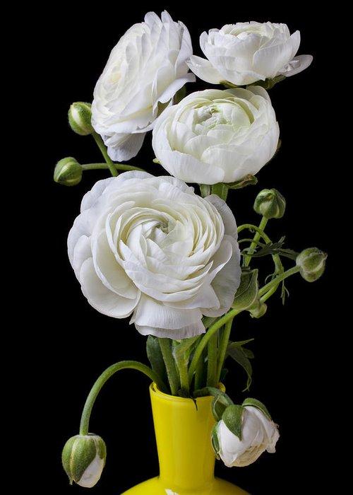 White Ranunculus Flower Yellow Greeting Card featuring the photograph  White Ranunculus In Yellow Vase by Garry Gay