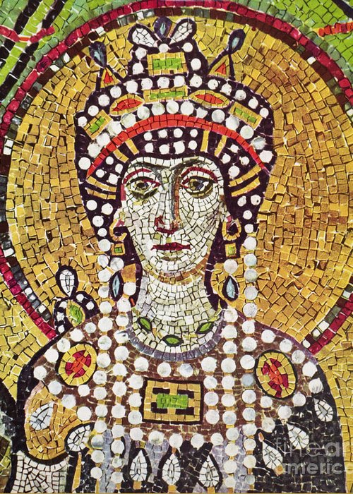 6th Century Greeting Card featuring the painting Theodora (c508-548) by Granger