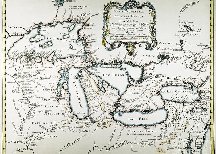 1755 Greeting Card featuring the painting Great Lakes Map, 1755 by Granger