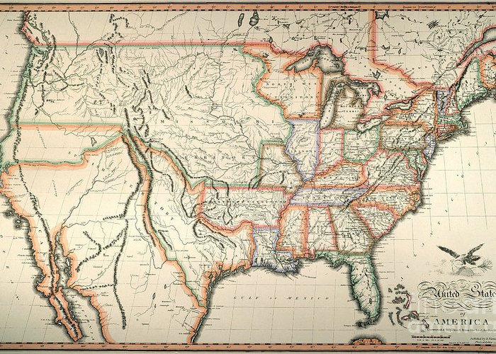1820 Greeting Card featuring the painting Map: United States, 1820 by Granger