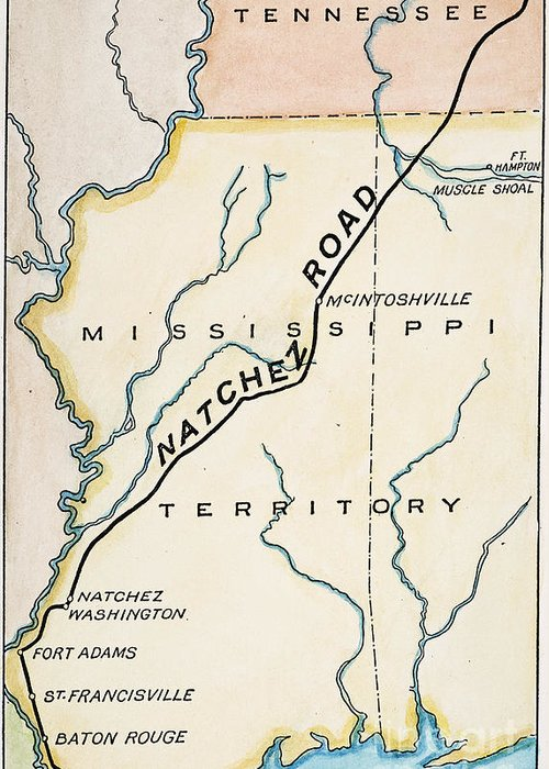 1816 Greeting Card featuring the painting Natchez Trace, 1816 by Granger