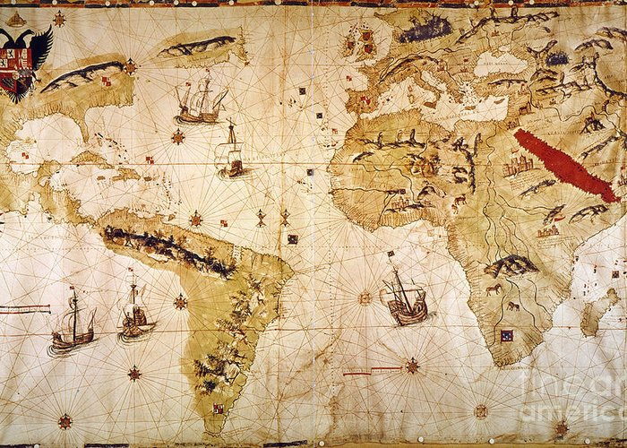 1526 Greeting Card featuring the painting Vespucci's World Map, 1526 by Granger