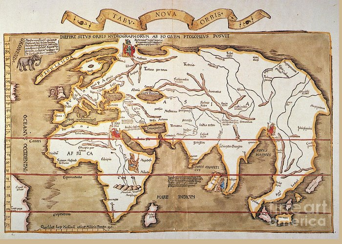 1535 Greeting Card featuring the painting Waldseemuller: World Map by Granger