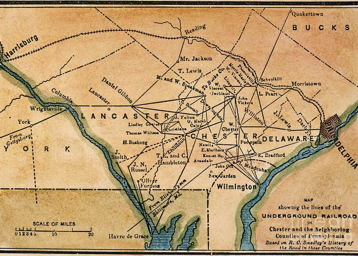 19th Century Greeting Card featuring the painting Underground Railroad Map by Granger