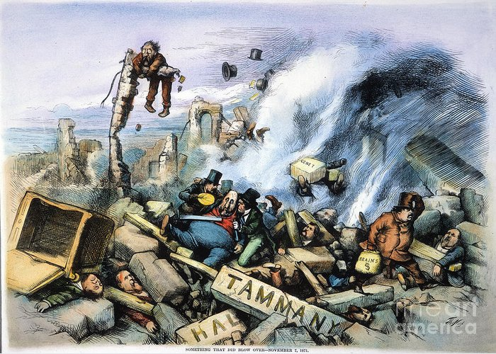1871 Greeting Card featuring the painting Nast: Tweed Ring Downfall by Granger