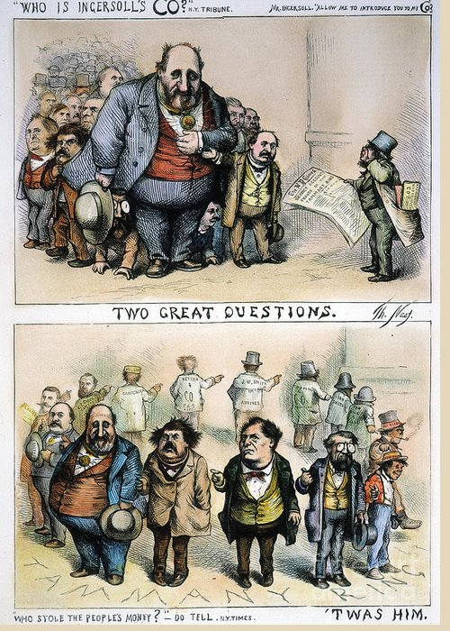 1871 Greeting Card featuring the painting Nast: Tweed Corruption by Granger