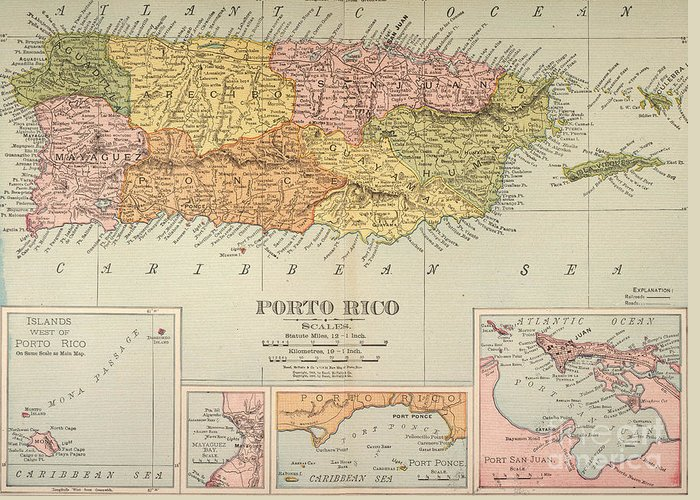 1900 Greeting Card featuring the painting Map: Puerto Rico, 1900 by Granger