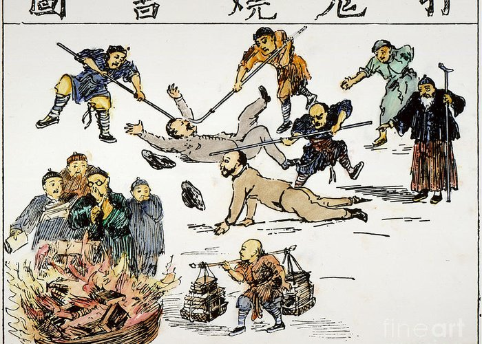 1890 Greeting Card featuring the painting China: Anti-west Cartoon by Granger
