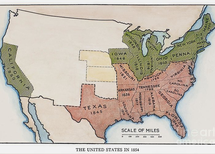 1854 Greeting Card featuring the painting United States Map, 1854 by Granger