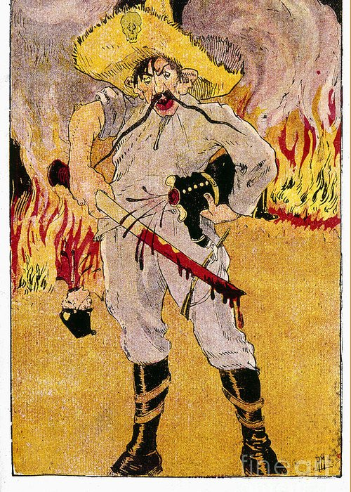 1910s Greeting Card featuring the painting Mexico: Political Cartoon by Granger