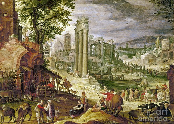 16th Century Greeting Card featuring the painting Roman Forum, 16th Century by Granger