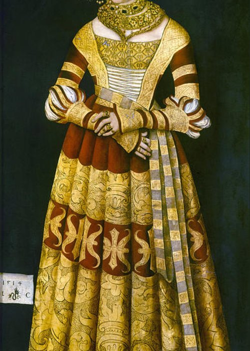 1514 Greeting Card featuring the painting Katharina Von Mecklenburg by Granger