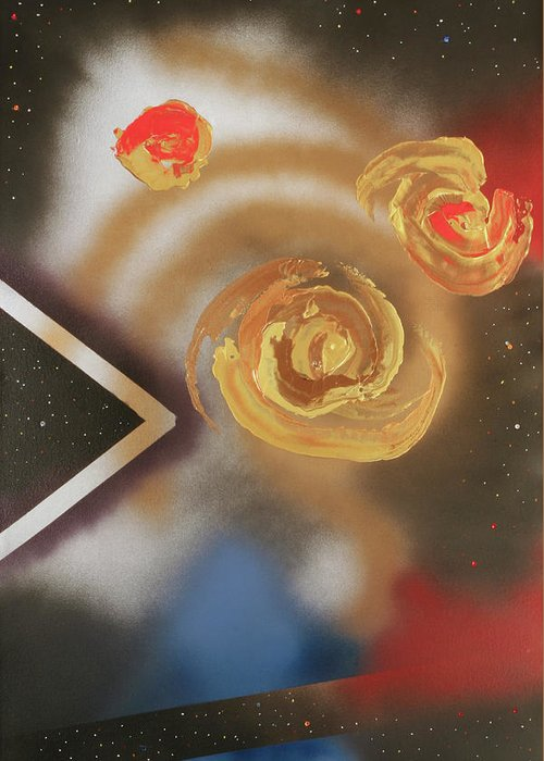 Abstract Greeting Card featuring the mixed media 046 Thrice Golden by James D Waller