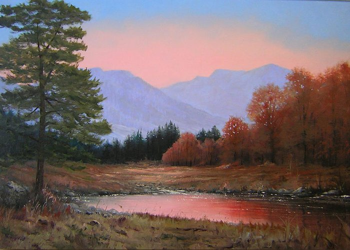 Landscape Greeting Card featuring the painting 051116-3020   First Light Of Day  by Kenneth Shanika