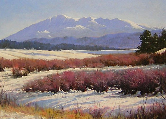 Landscape Greeting Card featuring the painting 051209-1814 Pikes Peak - North View by Kenneth Shanika