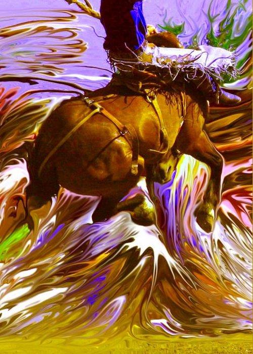 Art Greeting Card featuring the photograph 06 Bucking Horse ... Montana Art Photo by GiselaSchneider MontanaArtist