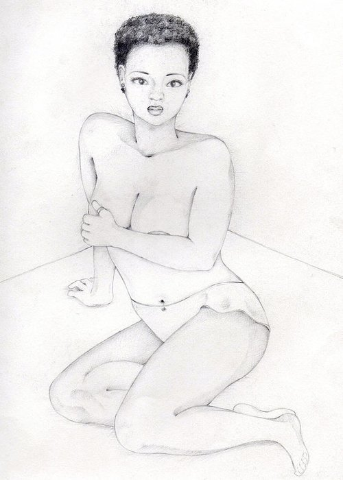 Afro American Art Greeting Card featuring the drawing 060 by Candace Williams