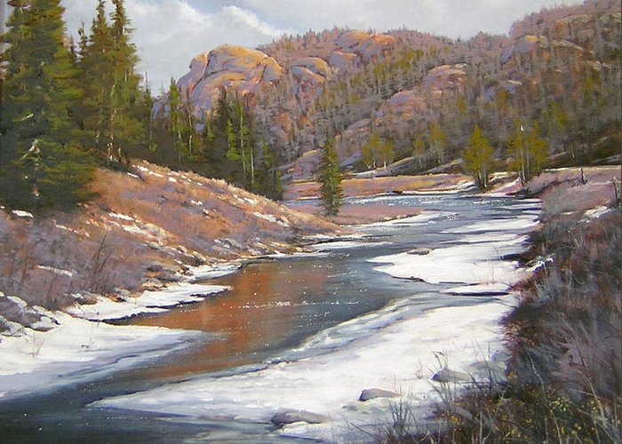 Landscape Greeting Card featuring the painting 060112-2016 January Freeze  by Kenneth Shanika