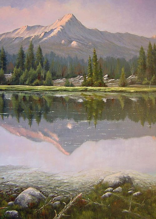 Landscape Greeting Card featuring the painting 060923-2430 Reflections At Days End  by Kenneth Shanika