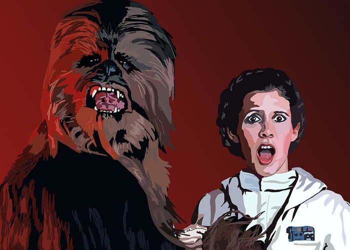 Chewbacca Greeting Card featuring the painting 070. Naughty Wookie by Tam Hazlewood