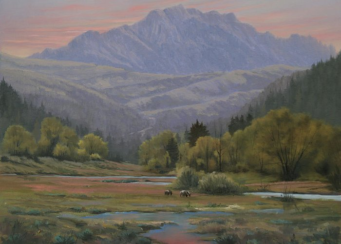Landscape Greeting Card featuring the painting 070815-1814  Evening Over Long Scraggy Mt. by Kenneth Shanika
