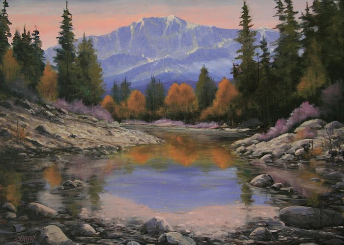 Landscape Greeting Card featuring the painting 080120-1814 October View - Pikes Peak by Kenneth Shanika