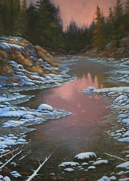 Landscape Greeting Card featuring the painting 080210-3040 Early Morning Light - Winter by Kenneth Shanika