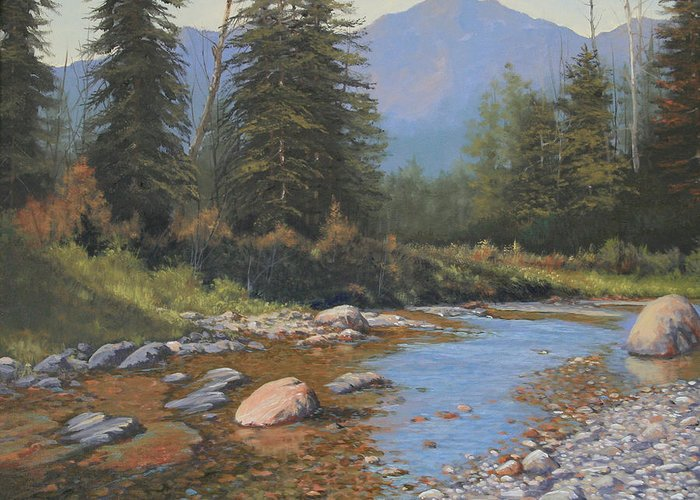 Landscape Greeting Card featuring the painting 080323-2420 Tranquility by Kenneth Shanika