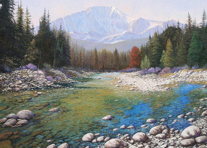 Landscape Greeting Card featuring the painting 080401-4030 Shallow Waters - Pikes Peak by Kenneth Shanika