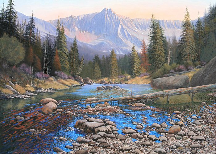 Rocky Mountain Landscape Greeting Card featuring the painting 080503-4836 Late Summer Run-off by Kenneth Shanika