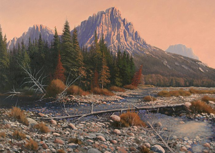 Rocky Mountain Landscape Greeting Card featuring the painting 080525-1620 Fading Light On Horse Thief Creek by Kenneth Shanika