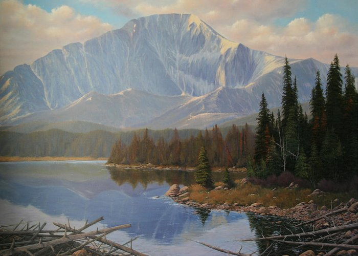 Pikes Peak Greeting Card featuring the painting 080625-3648 Holding On To Summer by Kenneth Shanika