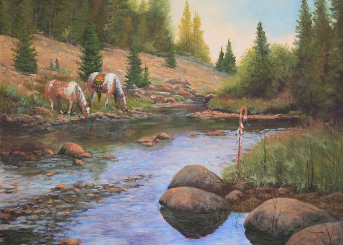 Landscape Greeting Card featuring the painting 090215-1620  Bait For The Enemy by Kenneth Shanika